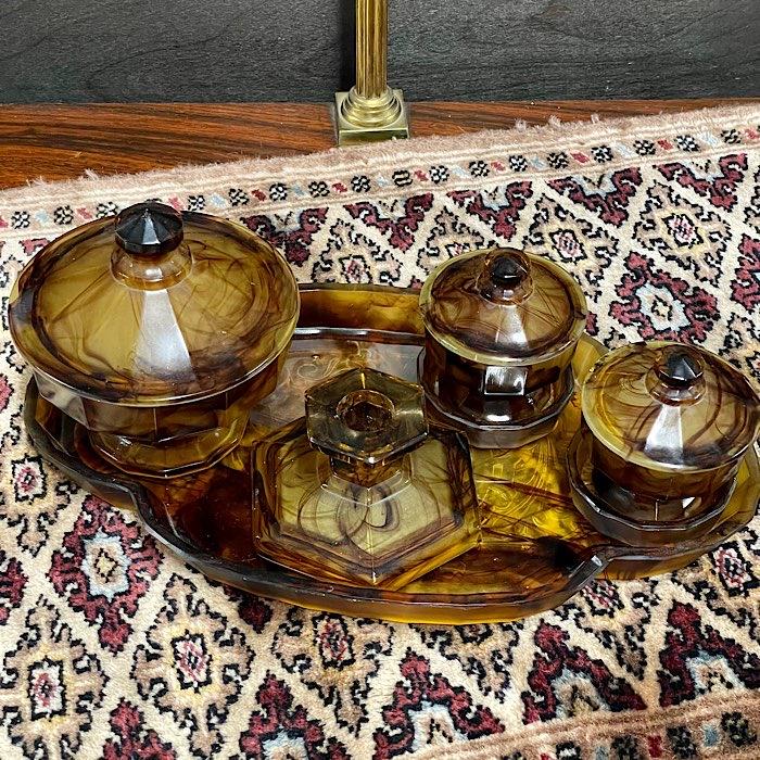 Amber Glass Dressing Table Set