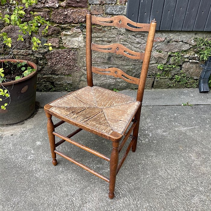 Antique 18th Century Rush Seat Chair