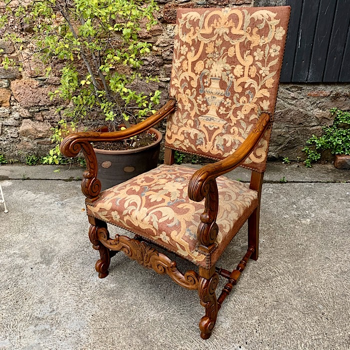 Antique Continental Embroidered Library Chair