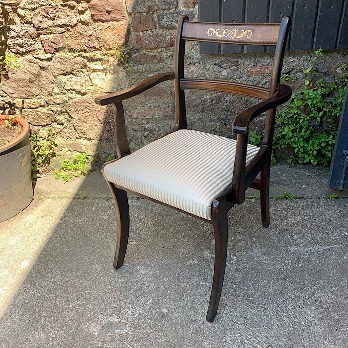 Antique Inlaid Mahogany Carver Chair
