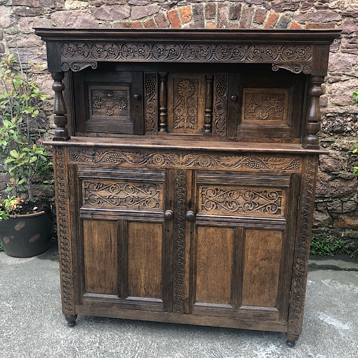 Antique Large Oak Court Cupboard