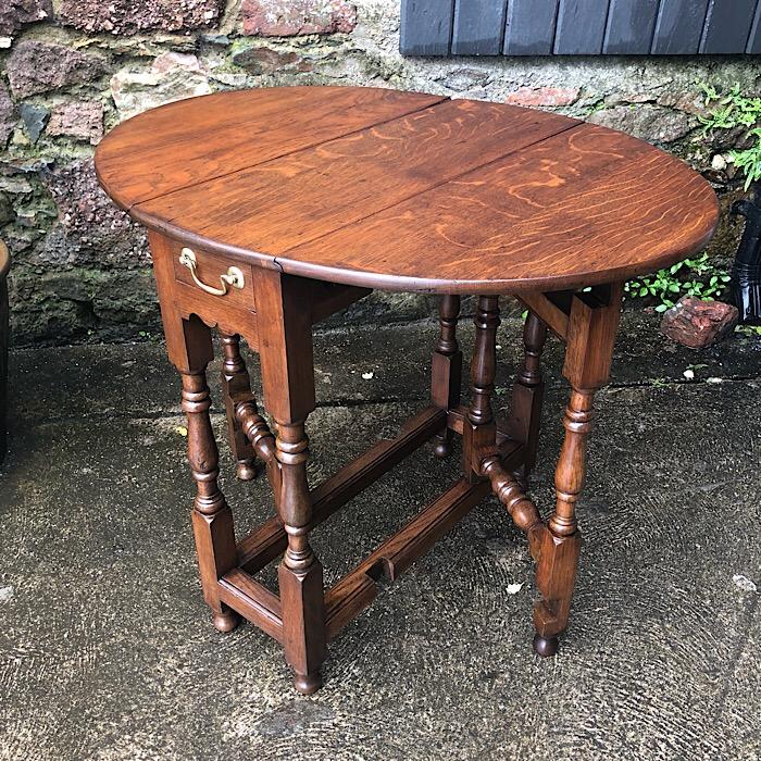 Antique Small Solid Oak Gate Leg Table