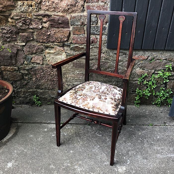 Art Nouveau Inlaid Mahogany Elbow Chair