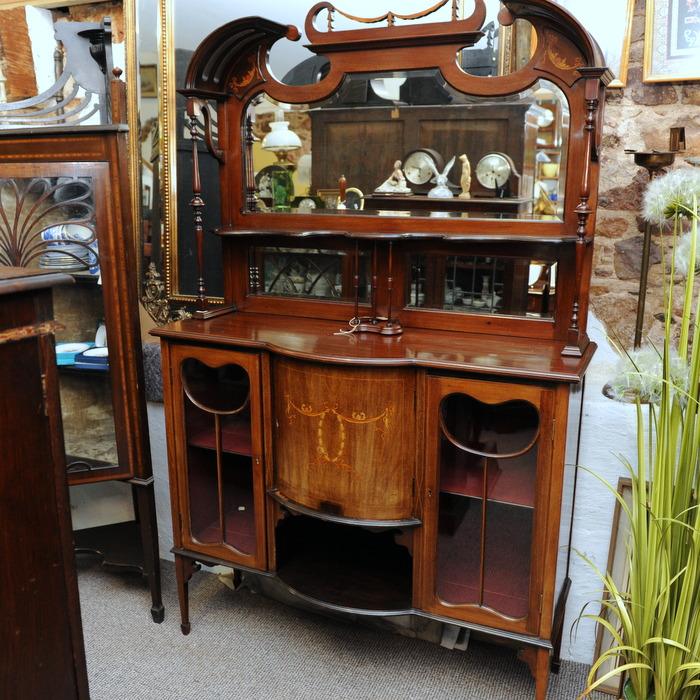 Art Nouveau Inlaid Mahogany Tall Cabinet