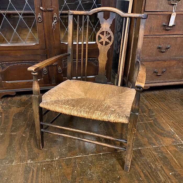 Arts & Crafts Beech Rush Seated Low Elbow Chair