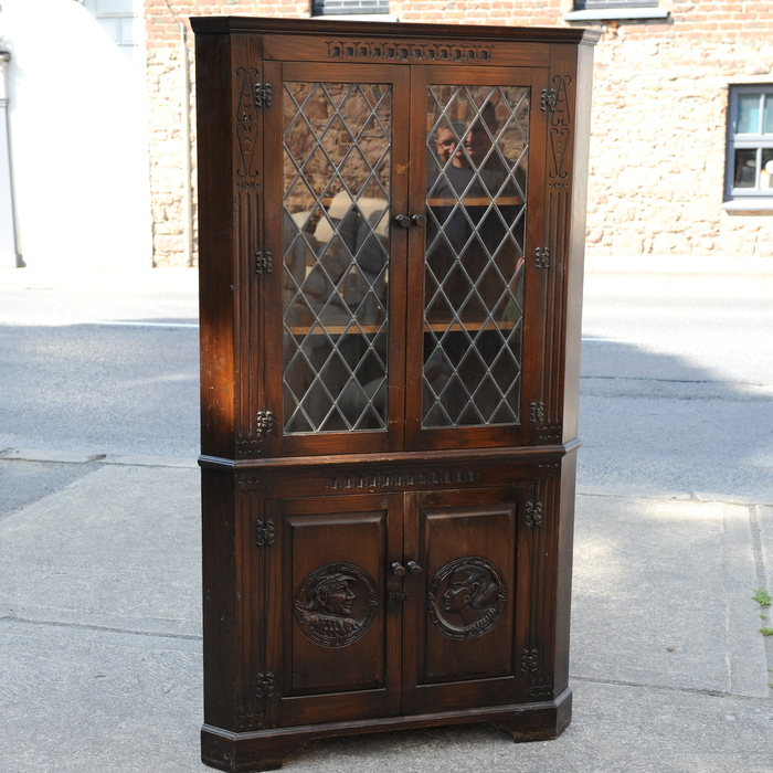 Carved Oak Freestanding Corner Cabinet