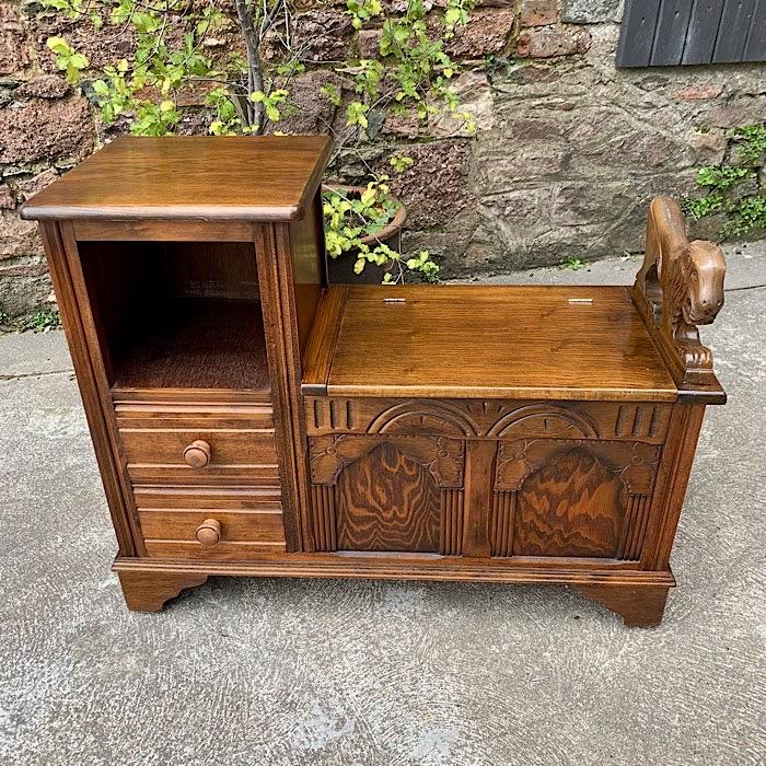 Carved Oak Hall Seat