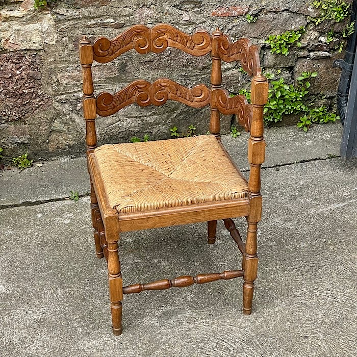Carved Oak Rush Seat Corner Chair