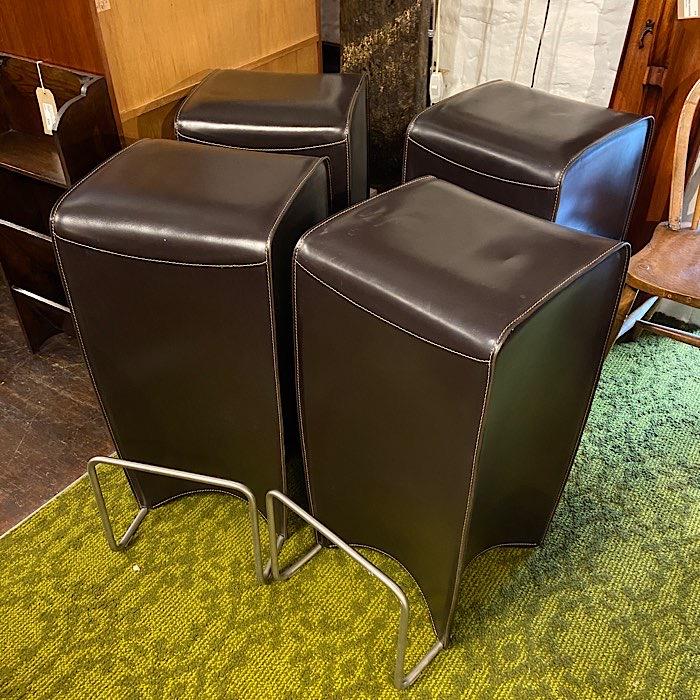 Chocolate Leather & Chrome Bar Stools
