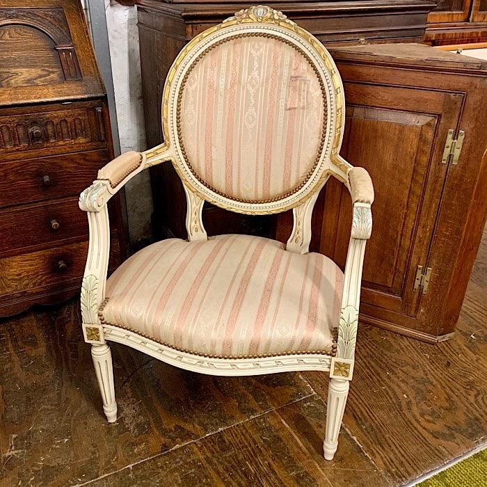 Cream & Parcel Gilt French Style Armchair