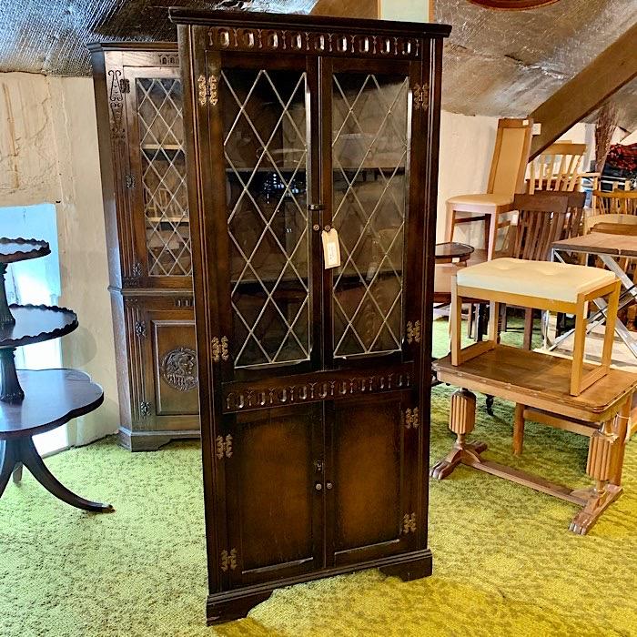 Dark Oak Glazed Corner Cabinet