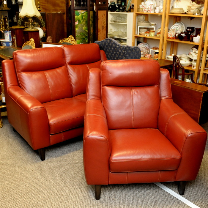 Deep Red Leather Sofas: Deep Red Leather Two Seater Sofa And Armchair