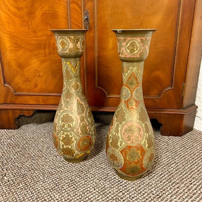 Eastern Engraved Brass Vases