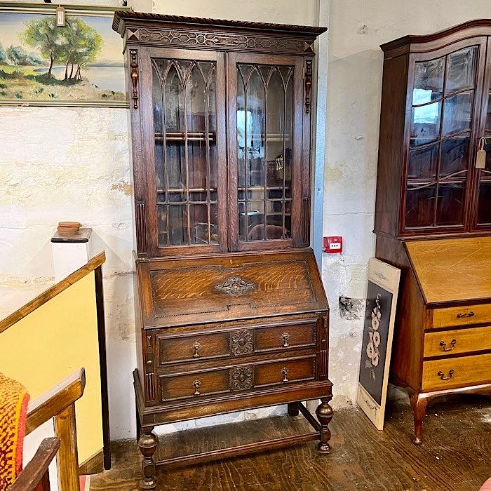 Edwardian Carved Oak Bureau Bookcase