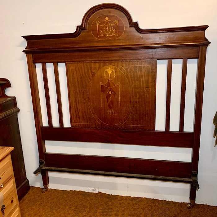 Edwardian Inlaid Mahogany Double Bed Frame