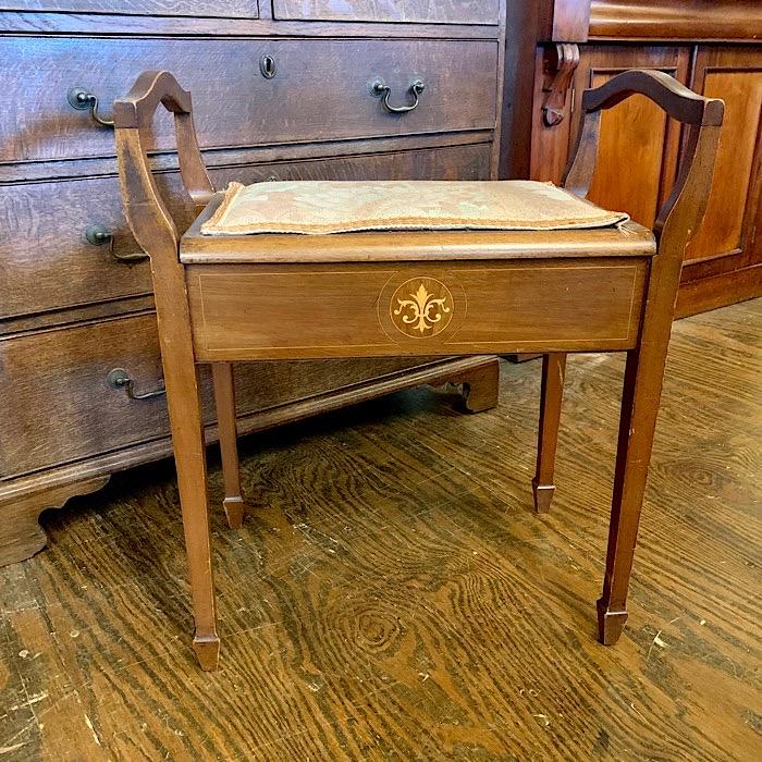 Edwardian Inlaid Piano Stool