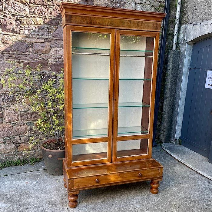 Edwardian Tall Two Door Glazed Bookcase