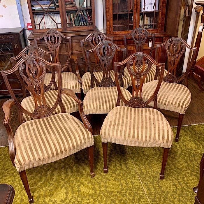 Eight Hepplewhite Style Mahogany Dining Chairs
