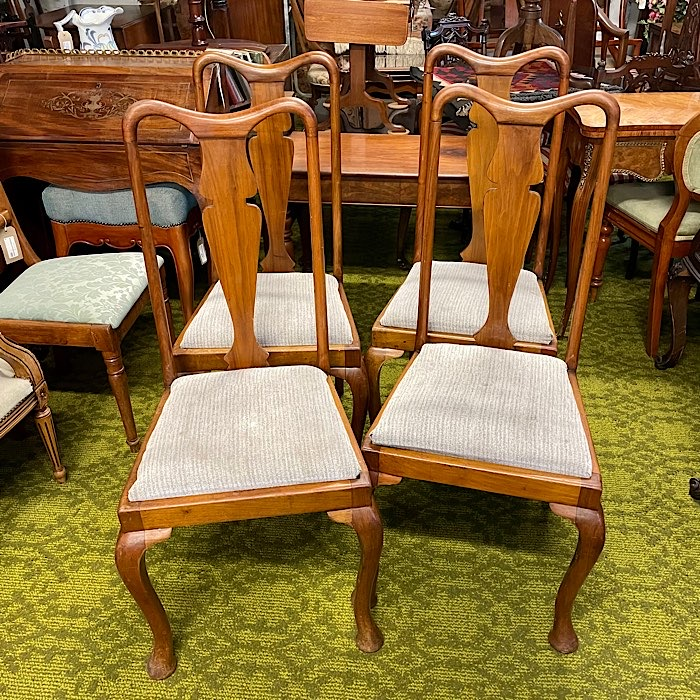 Four Mahogany High Back Dining Chairs