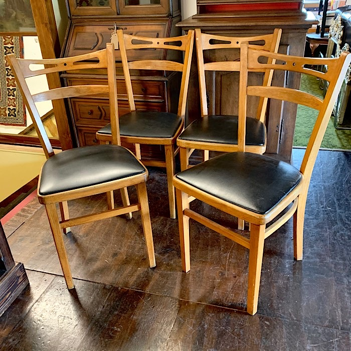 Four Vintage Beech Kitchen Chairs
