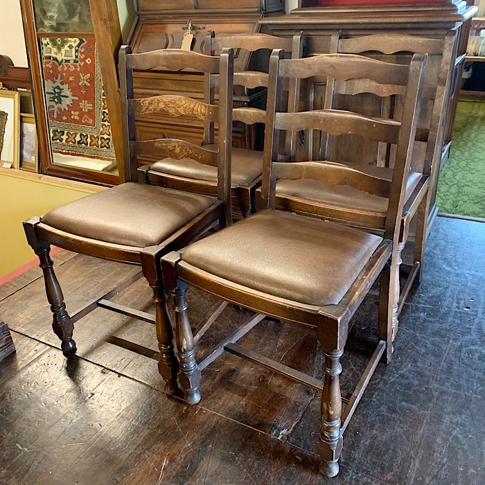 Four Vintage Oak Dining Chairs