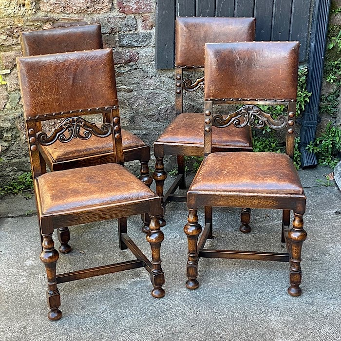 Four Vintage Oak & Leather Dining Chairs
