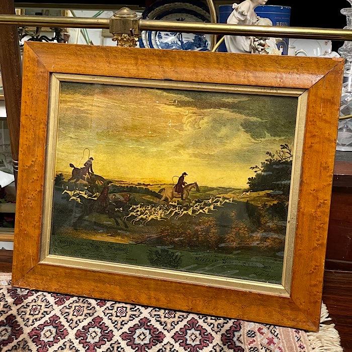 Framed Print on Glass Hunt Scene