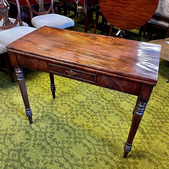 Georgian Mahogany Rectangular Fold Over Tea Table
