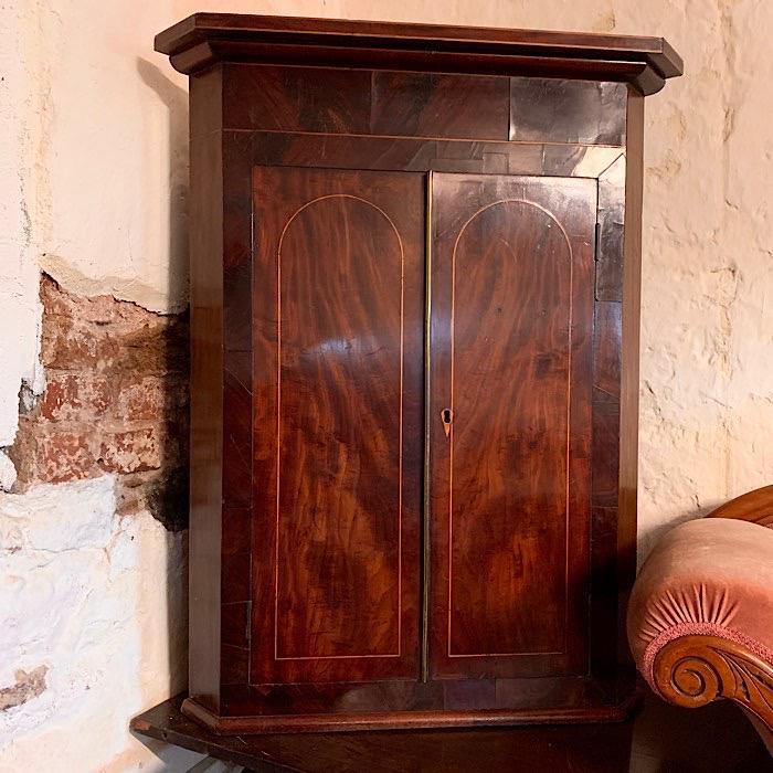 Georgian Mahogany Splay Front Corner Cupboard