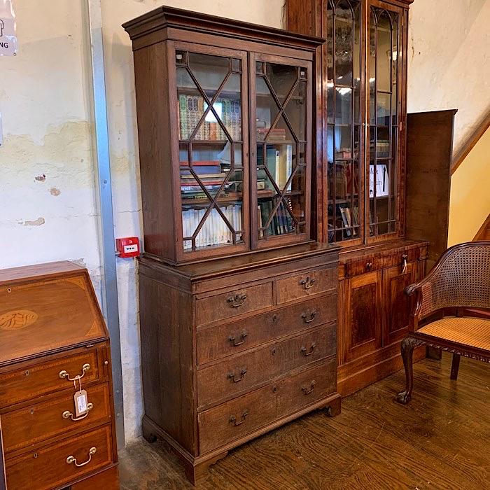Georgian Oak Bookcase On Chest