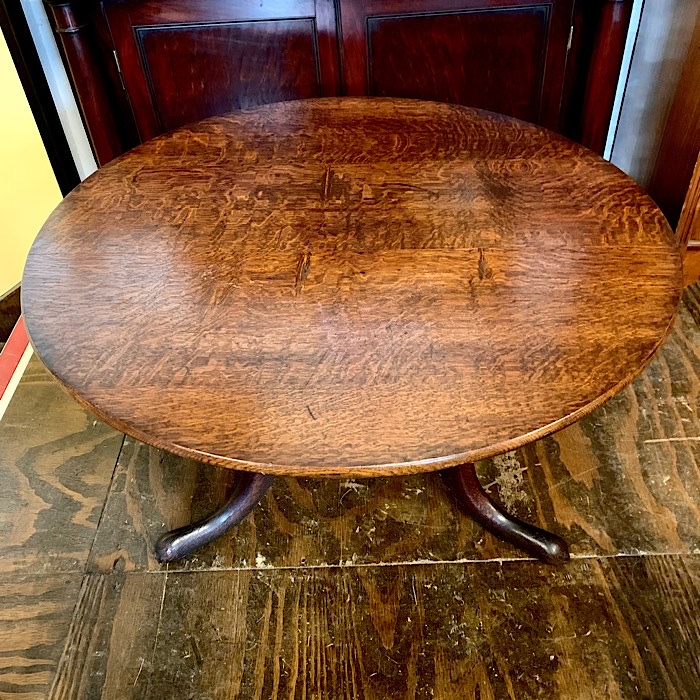Georgian Oak Circular Tilt-Top Low Tea Table
