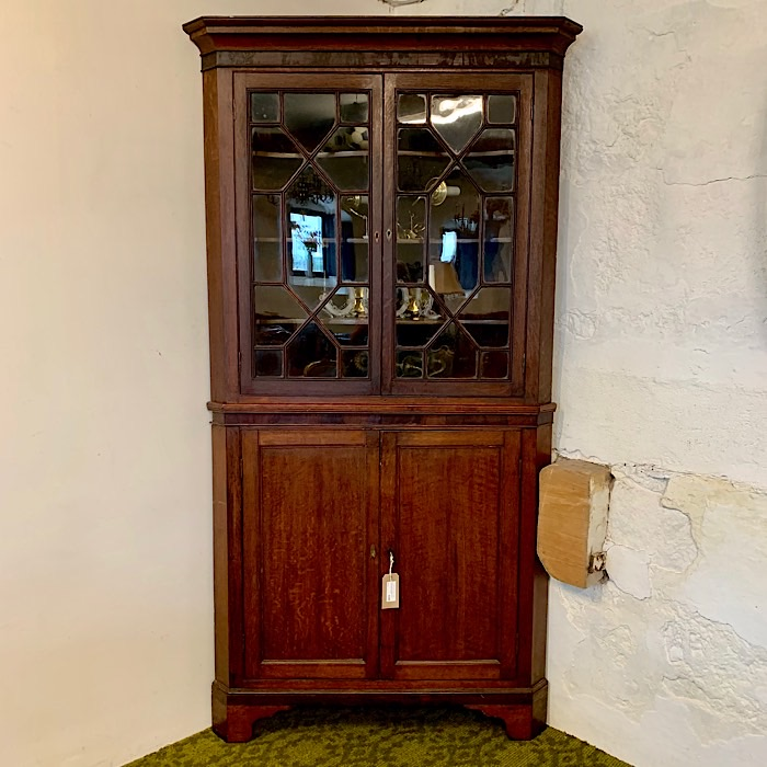 Georgian Oak Freestanding Splay Front Corner Cupboard