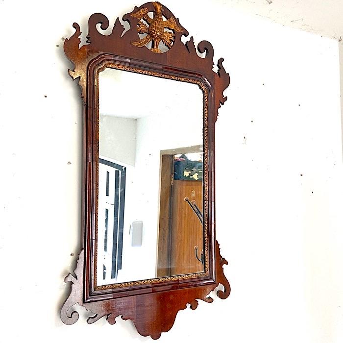 Georgian Style Mahogany & Parcel Gilt Framed Mirror