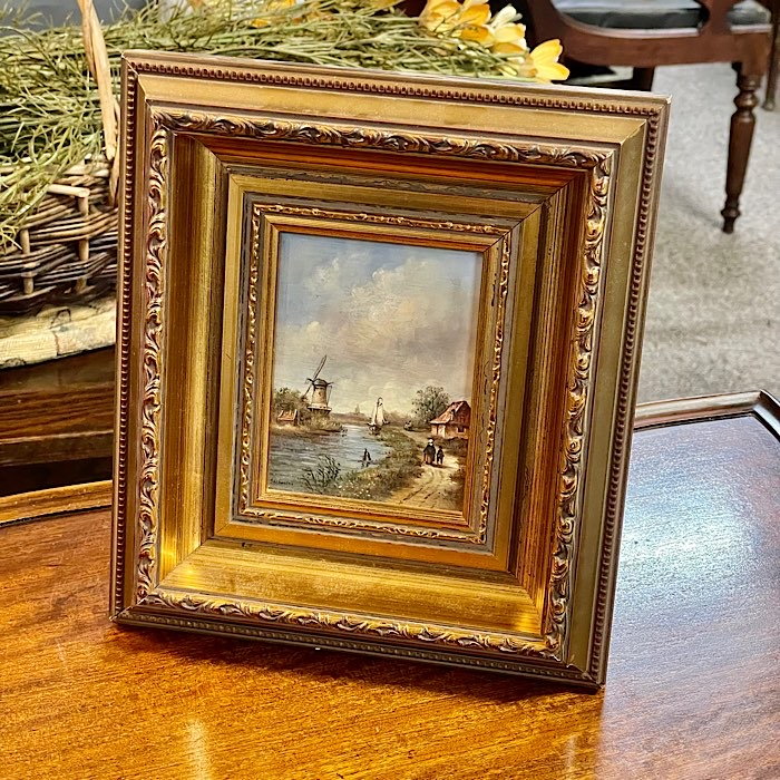 Gilt Framed Dutch Landscape Oil On Board