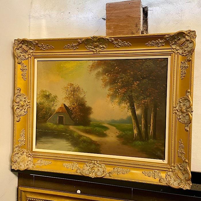 Gilt Framed Oil On Canvas Cottage