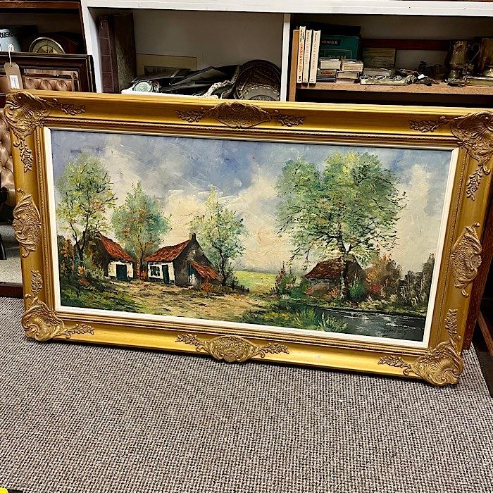 Gilt Framed Oil On Canvas Cottages