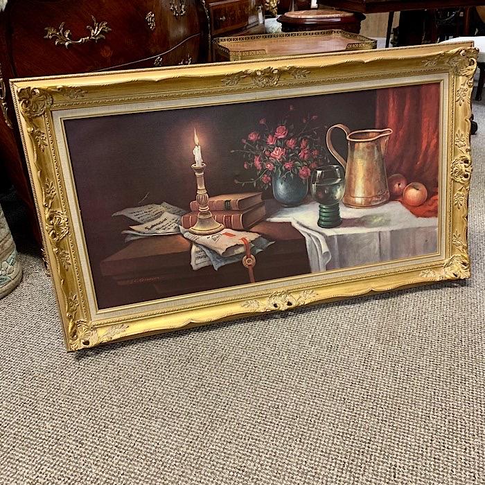 Gilt Framed Oil On Canvas Dining Table