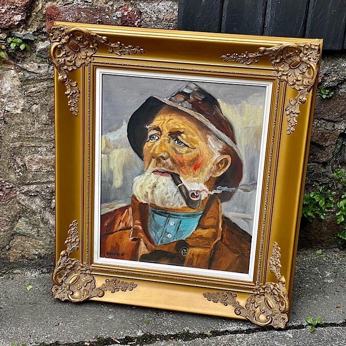 Gilt Framed Oil On Canvas Fisherman