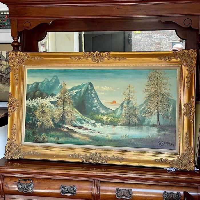 Gilt Framed Oil On Canvas Mountain