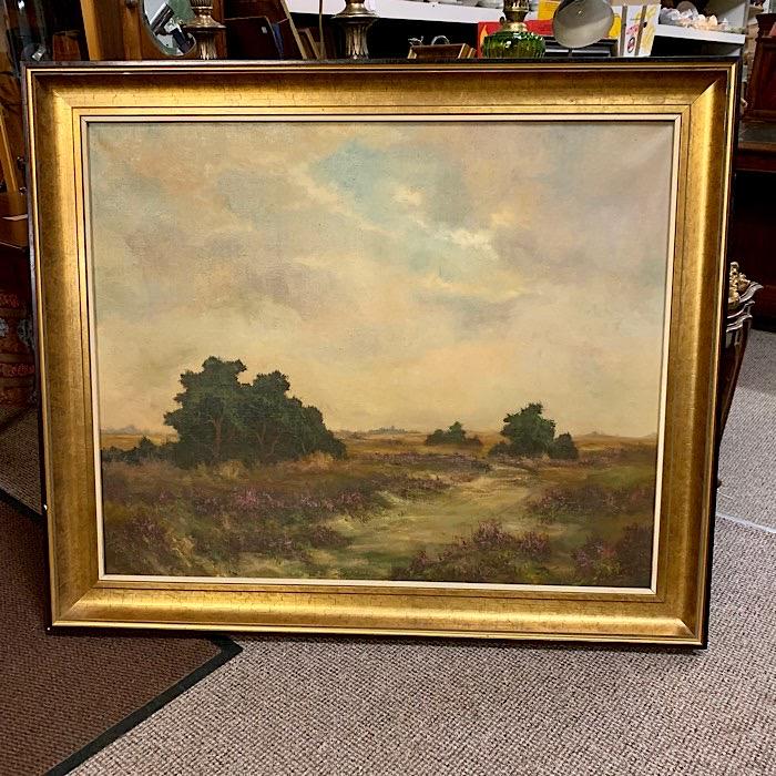 Gilt Framed Oil On Canvas River Scene