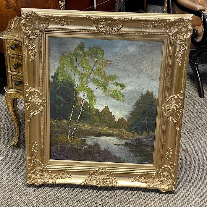 Gilt Framed Oil On Canvas Riverside