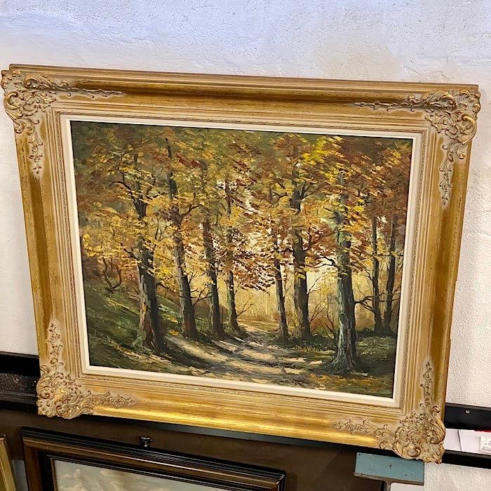 Gilt Framed Oil On Canvas Woodland