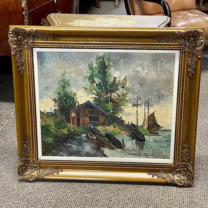 Gilt Frames Oil On Canvas Boats