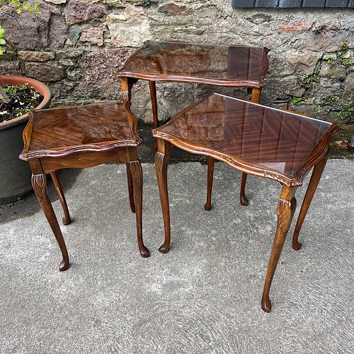 Glass Topped Mahogany Nest Of Tables