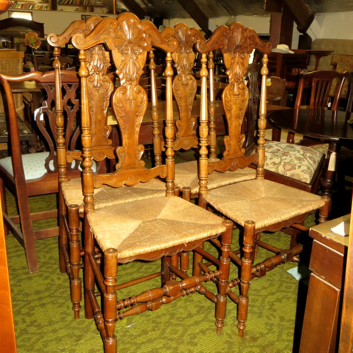 4 dining chairs upholstered continental carved back set dining chairs treasure trove