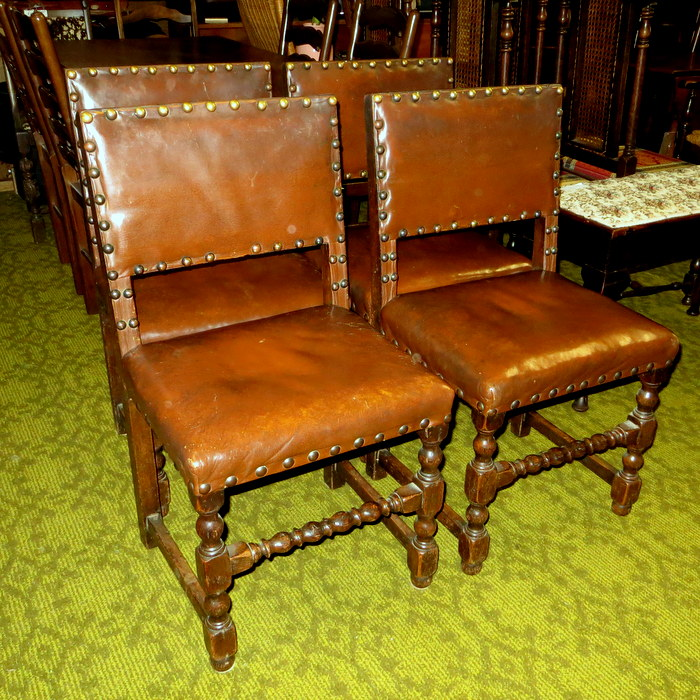 Oak and Leather Dining Chairs - 4