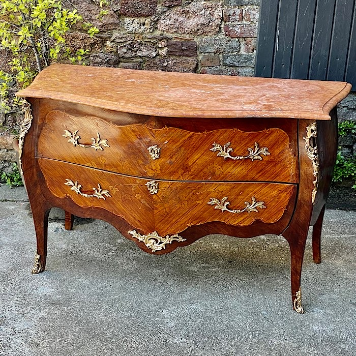 Inlaid Marble Top Ormolu Bombe Chest