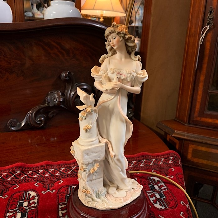Lady with Bird Figurine Lamp