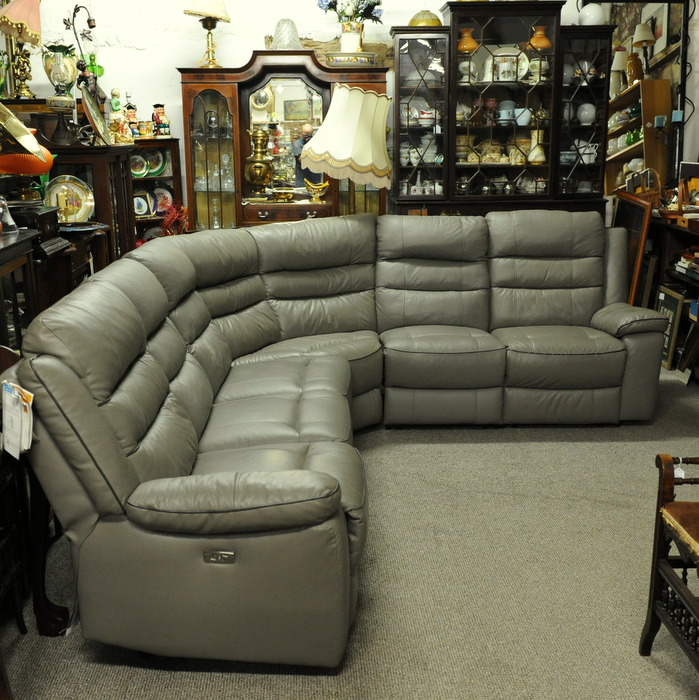 Large Leather Electric Reclining Corner Sofa Treasure Trove Antique Castlebridge Wexford Antiques Vintage Used Furniture Collectibles