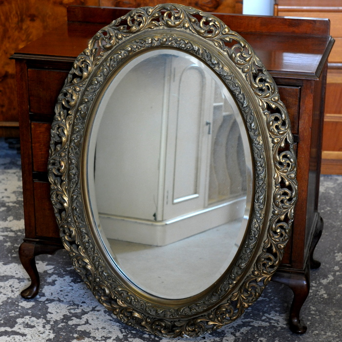 Large Ornate Gilt Plaster Oval Mirror Treasure Trove Antique Shop Castlebridge Wexford Antiques Vintage Used Furniture Collectibles